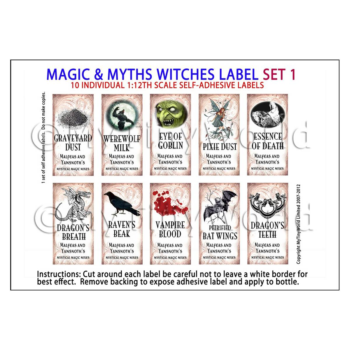 Dolls House Miniature Myth And Magic Label Set 1