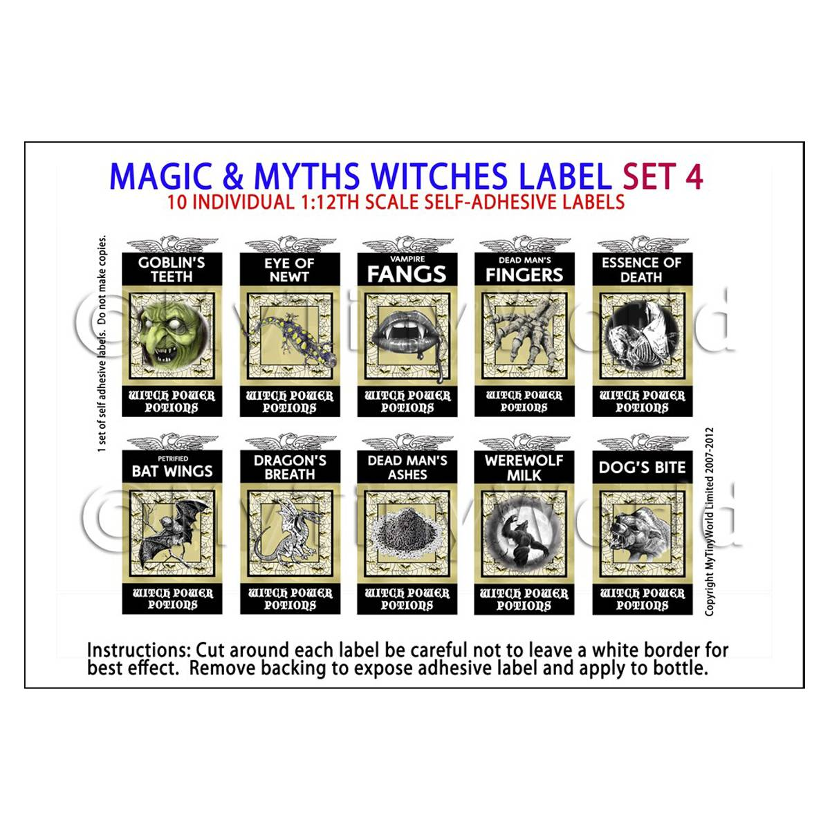 Dolls House Miniature Myth And Magic Label Set 4