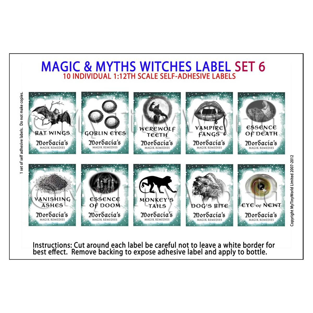 Dolls House Miniature Myth And Magic Label Set 6
