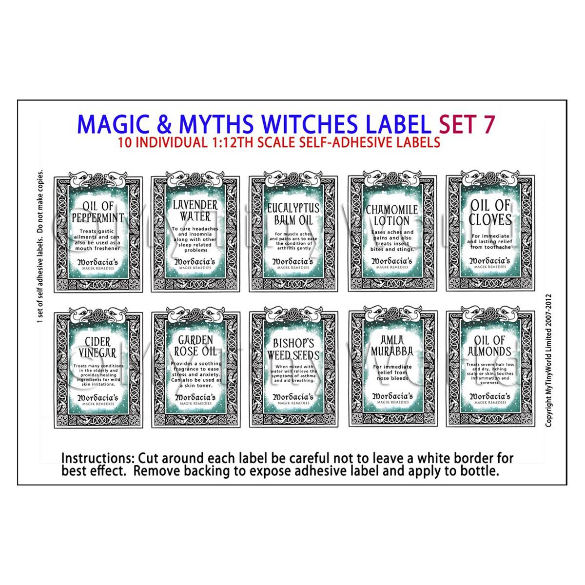 Dolls House Miniature Myth And Magic Label Set 7