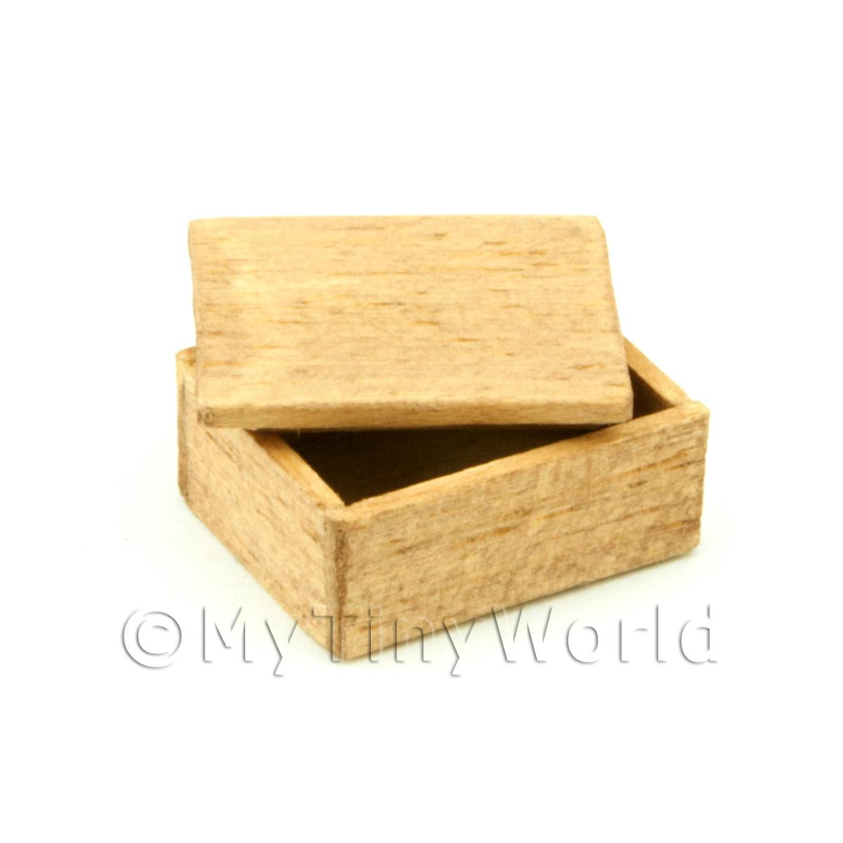 Dolls House Small Aged Wood Shop Stock Box With Lid