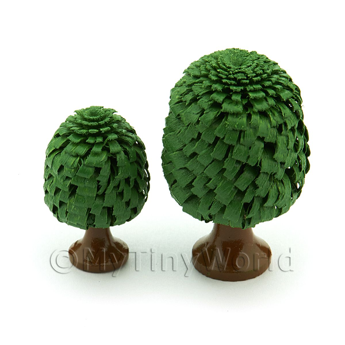2 Dolls House Classic Shaped Green Trees 30 And 40mm
