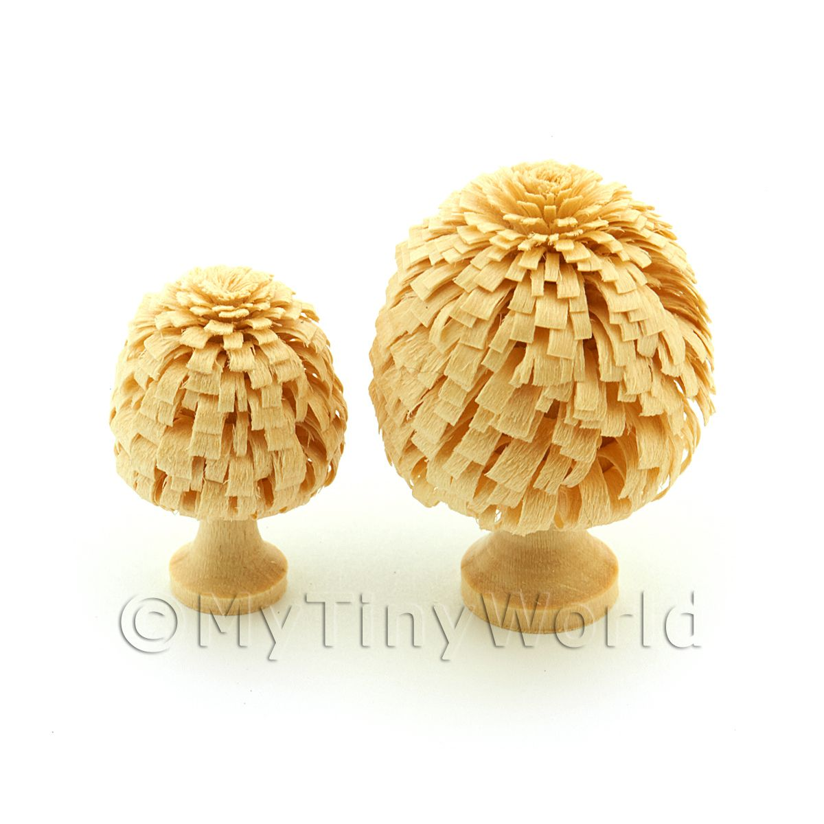 2 Dolls House Classic Shaped Unpainted Trees 30 And 40mm