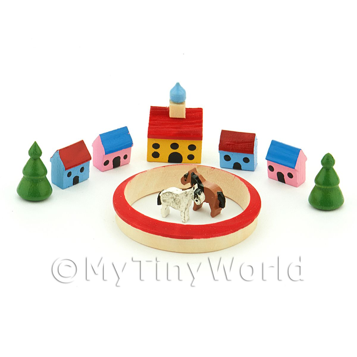 Dolls House Miniature Set of 10 Wood Buildings / Pieces