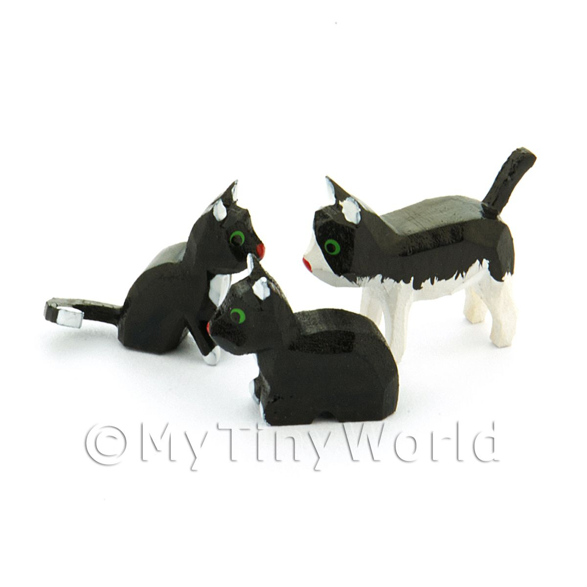 German Dolls House Miniature Set Of 3 Small Cats