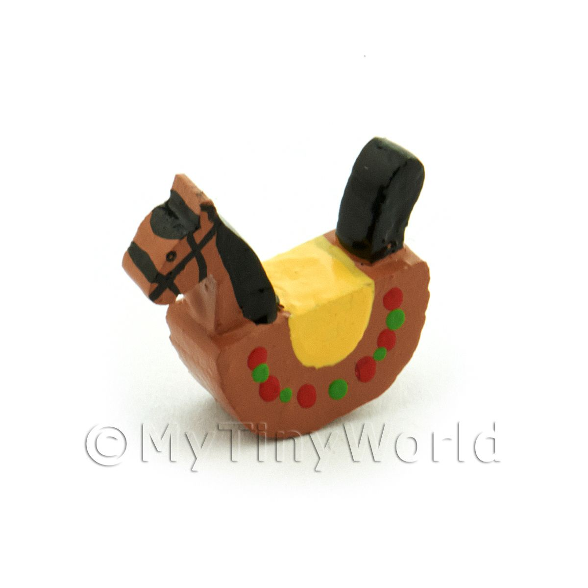 Dolls House Miniature 15mm Brown Wood Rocking Horse