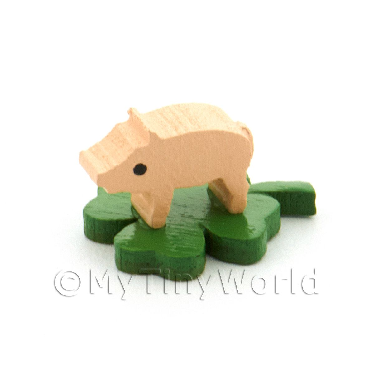 Dolls House Miniature Tiny Pig Standing On A Clover Leaf