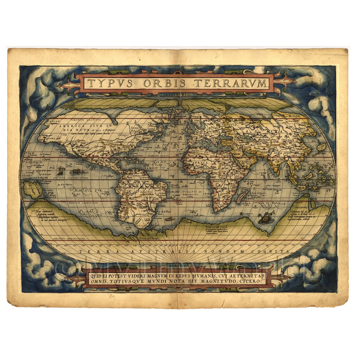 Dolls House Miniature Old Map Of The World From The Late 1500s