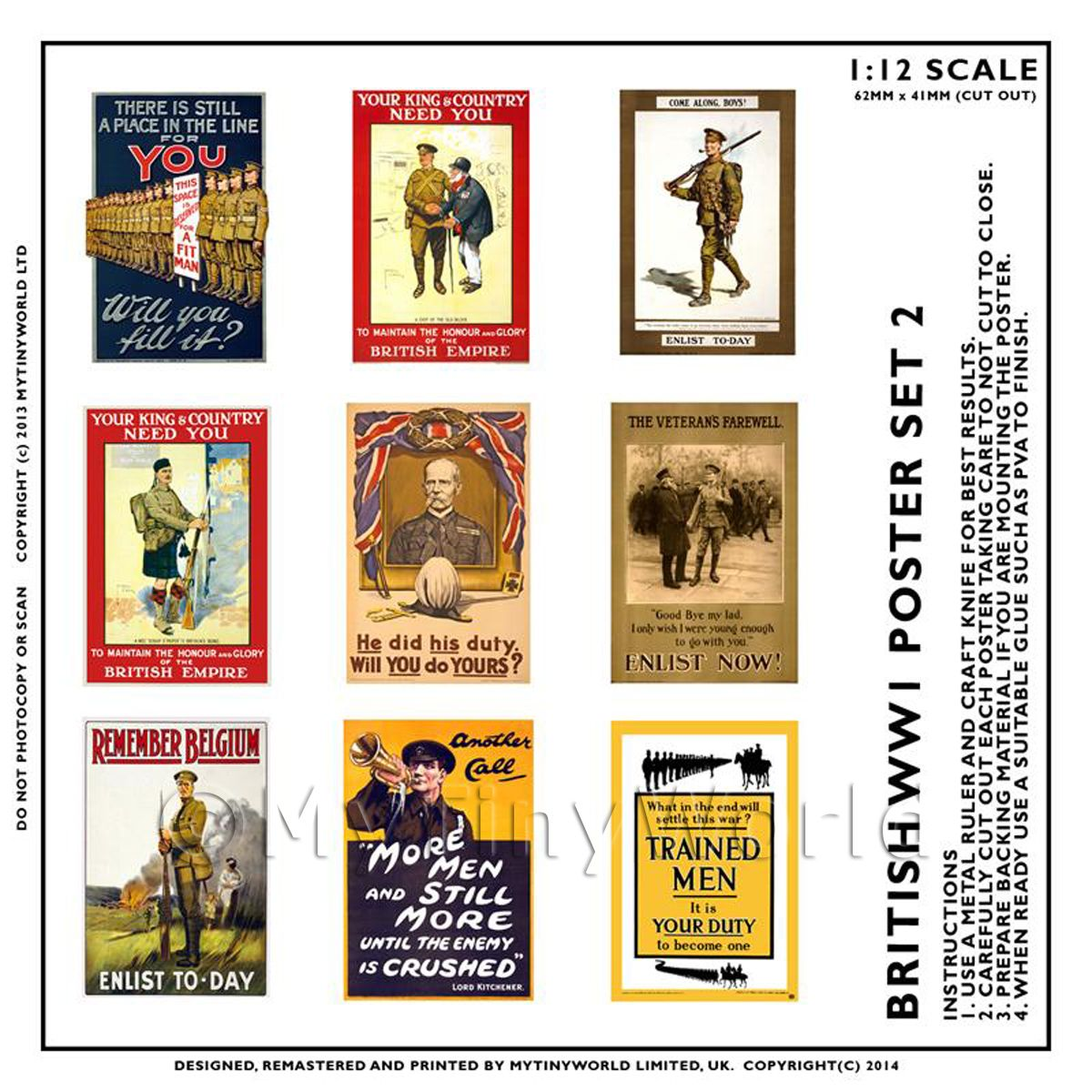 Dolls House Miniature World War One Set of 9 Posters - Set 2