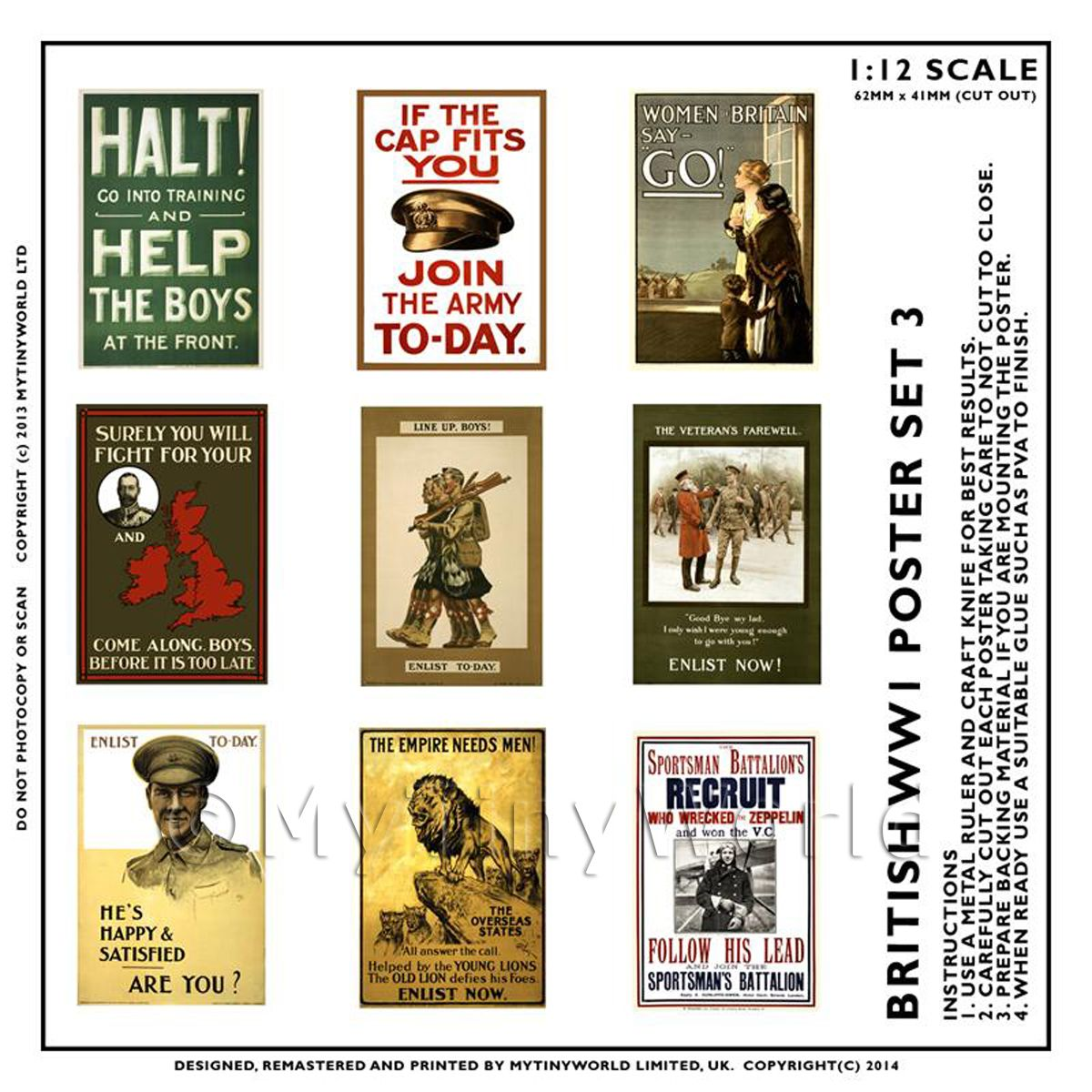 Dolls House Miniature World War One Set of 9 Posters - Set 3