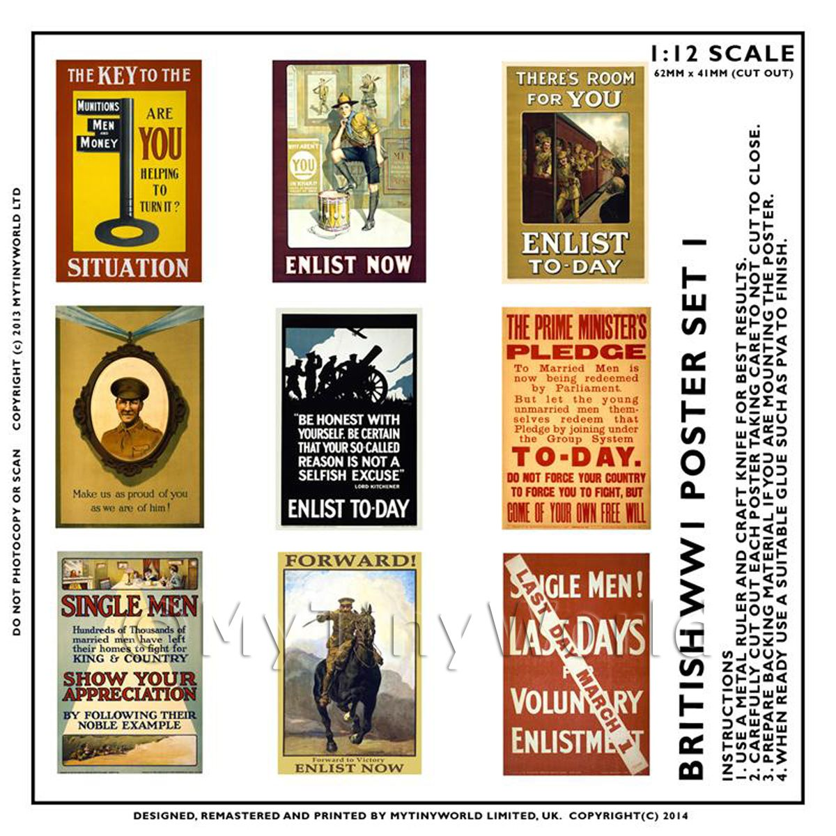 Dolls House Miniature World War One Set of 9 Posters - Set 6