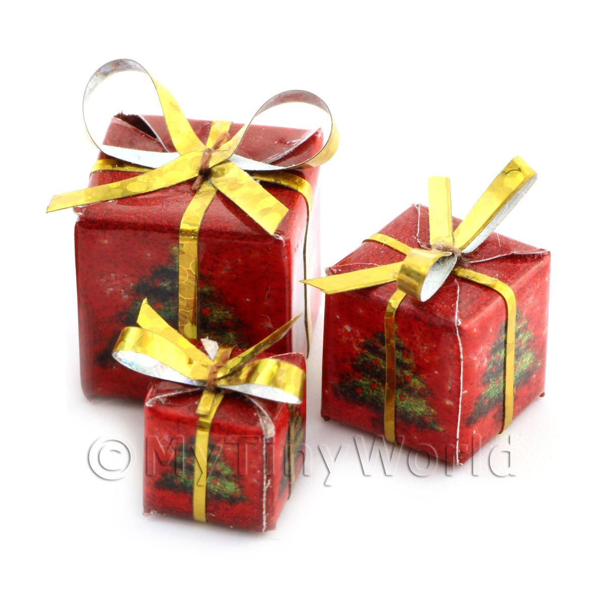 Dolls house Miniature set of 3 Christmas Parcels Style 1