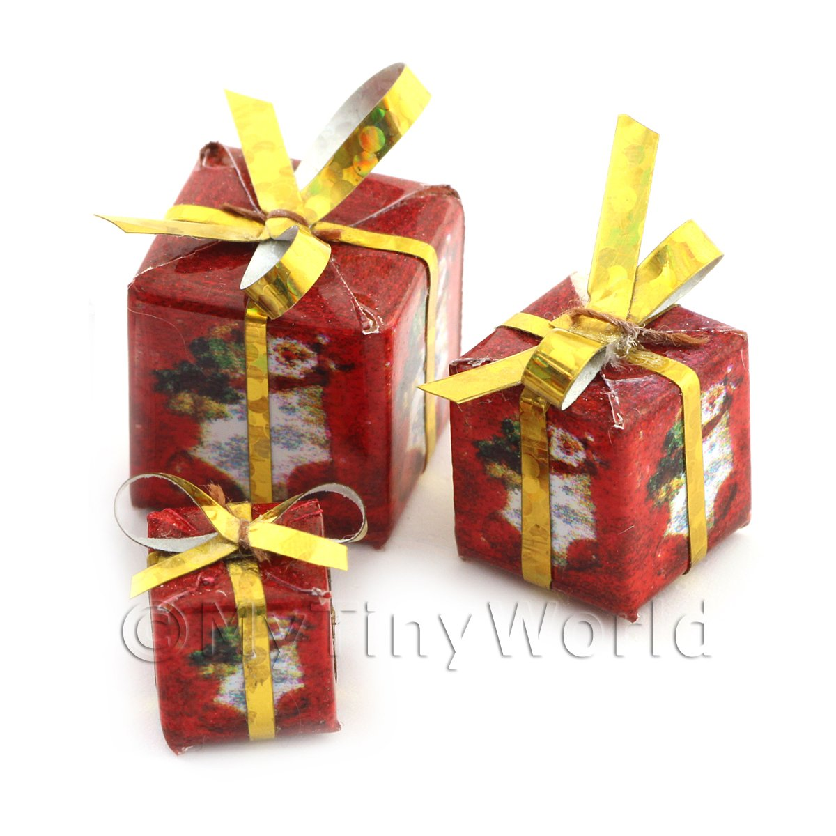 Dolls house Miniature set of 3 Christmas Parcels Style 3
