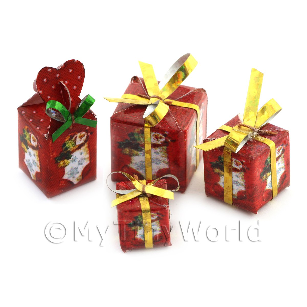 Dolls house Miniature set of 4 Christmas Parcels Style 3