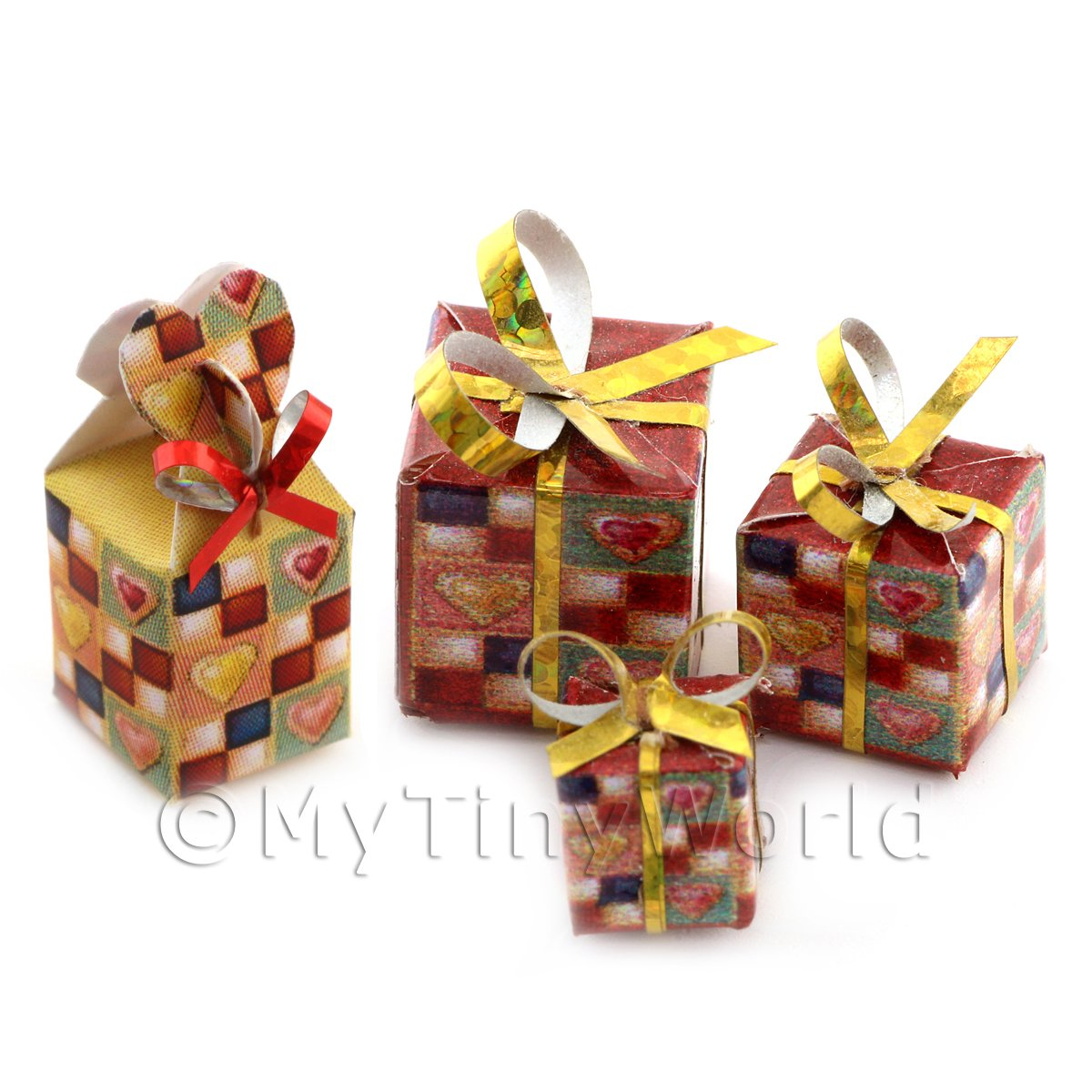 Dolls house Miniature set of 4 Christmas Parcels Style 7