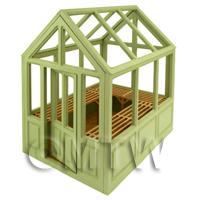 Dolls House Miniature - Self Assembly Wood Greenhouse With Removable Roof