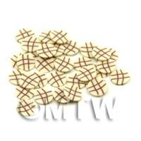 1/12th scale 50 White Chocolate Lattice Cane Slices - Nail Art (FNS08)