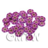50 Purple Flower Cane Slices - Nail Art (FNS14)