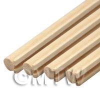 4 x Dolls House Miniature Curved Wood Hand Rail (Style 1)