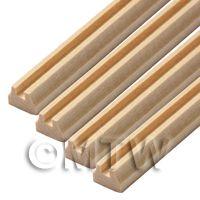4 x Dolls House Miniature 45cm Square Cut Wood Hand Rail (Style 2)