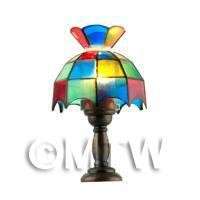Dolls House Miniature Multi Clear Coloured Tiffany Lamp
