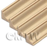 4 x Dolls House Miniature 45cm Wood Cornice / Coving (Style 5)