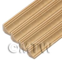 4 x Dolls House Miniature 45cm Wood Cornice / Coving (Style 6)
