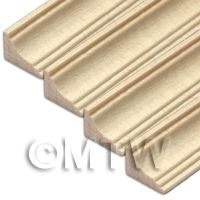 4 x Dolls House Miniature 45cm Wood Cornice / Coving (Style 7)