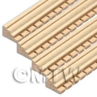 4 x Dolls House Miniature Wood Decorative Moulding (Style 3)