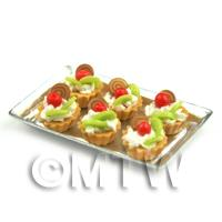 6 Loose Dolls House Miniature  Chocolate Twirl Kiwi Tarts on a Tray