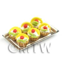 6 Loose Dolls House Miniature  Pineapple and Kiwi Tarts on a Tray