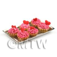 6 Loose Dolls House Miniature  Strawberry Valentines Tarts on a Tray