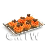 6 Loose Dolls House Miniature  Orange Fancies with Choc Heart Tarts on a Tray