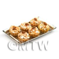 6 Loose Dolls House Miniature  Chopped Almond Topped Tarts on a Tray