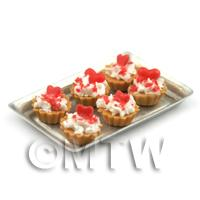 6 Loose Dolls House Miniature  Strawberry Sauce and Red Hearts Tarts on a Tray