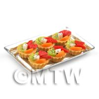 6 Loose Dolls House Miniature  Mixed Fruit Tarts on a Tray