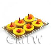 6 Loose Dolls House Miniature  Pineapple and Peach Tarts on a Tray