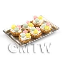 6 Loose Dolls House Miniature  Fondant Rose Tarts on a Tray