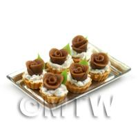 6 Loose Dolls House Miniature  Chocolate Rose Tarts on a Tray