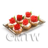 6 Loose Dolls House Miniature  Red Fondant Rose Tarts on a Tray
