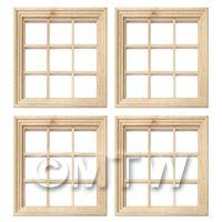 4 x Dolls House Miniature 9 Pane Georgian Windows And Glazing