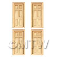 4 x Dolls House Miniature Internal 6 Panel Doors