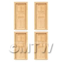1/12th scale - 4 x Dolls House Miniature Internal 5 Panel Wood Doors