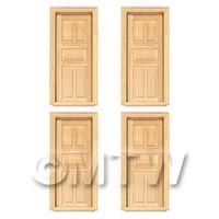 4 x Dolls House Miniature Internal 5 Panel Wood Doors