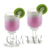 2 Miniature Purple Kiss Cocktails In a tiny Glass Goblets