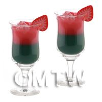 2 Miniature Green Eyes Cocktails In Handmade Glasses