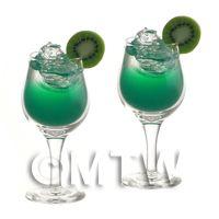 2 Miniature Emerald Heaven Cocktails In Handmade Glasses