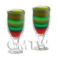 2 Miniature Rainbow Cocktails In Handmade Glasses