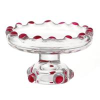 Dolls house Miniature Pink Glass Single Tier Cake Stand