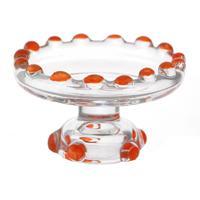 Dolls House Miniature Orange Glass Single Tier Cake Stand